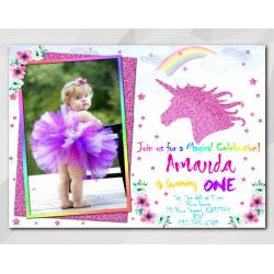 Unicorn invitation with Photo