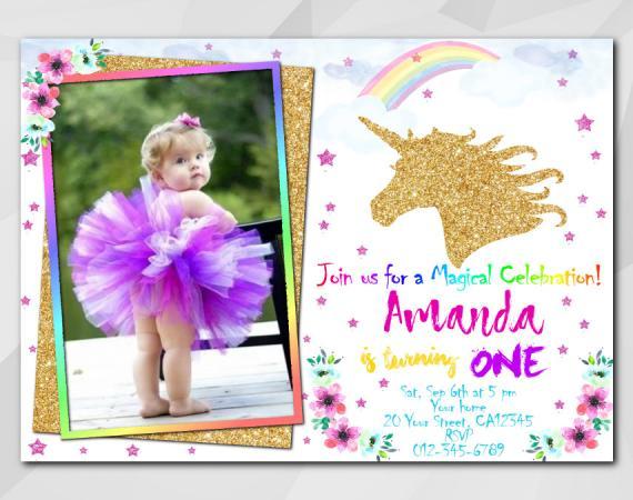 Unicorn invitation with Photo   Personalized Digital Card