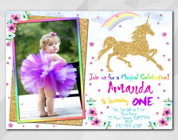 Unicorn invitation with Photo | Personalized Digital Card