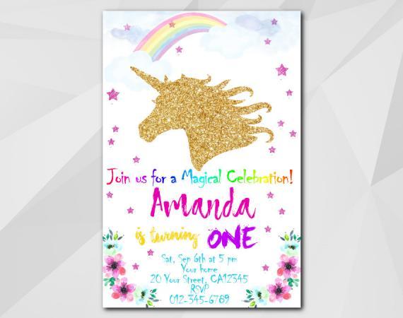 Unicorn printable birthday invitation unicorn invitation template unicorn invitation personalized digital card stopboris Image collections