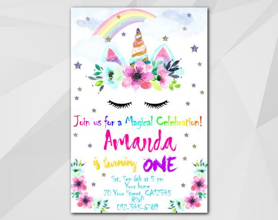 Unicorn invitation   Personalized Digital Card