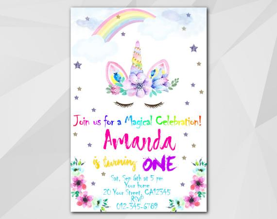 Unicorn invitation | Personalized Digital Card