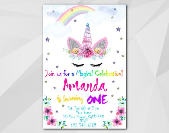 Unicorn invitation | Personalized Digital Card