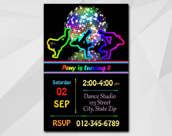 Disco Dance invitation | Personalized Digital Card