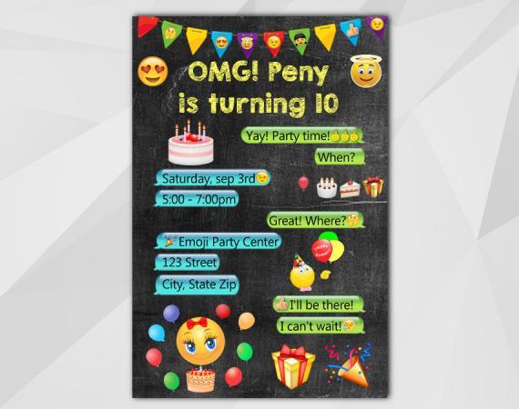 Printable Emoji Birthday Invitation Chalkboard