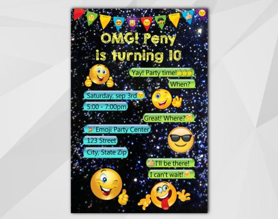 Printable Emoji Birthday Invitation Smile Template