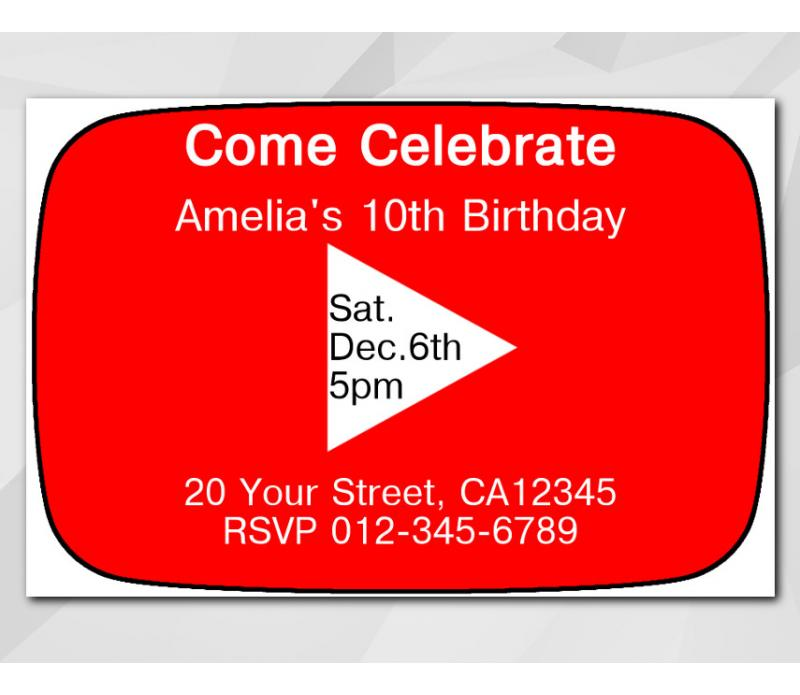 Printable youtube birthday invitation template youtube invitation personalized digital card stopboris Image collections