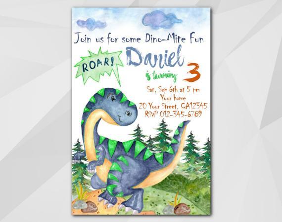 Dinosaur invitation   Personalized Digital Card