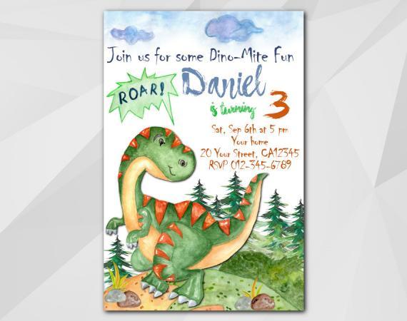 Dinosaur invitation | Personalized Digital Card