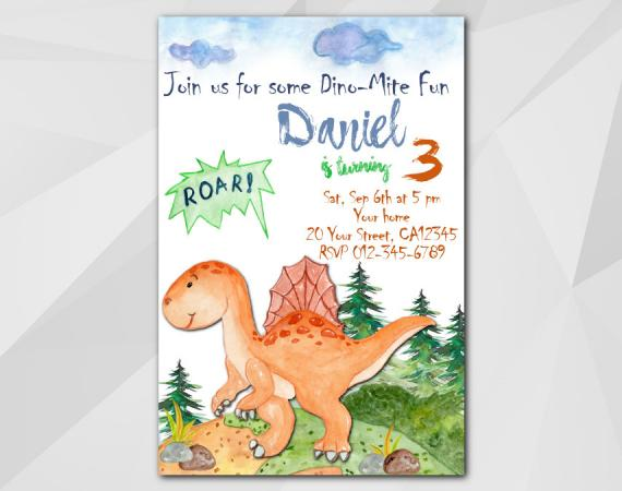 Dinosaur Birthday Invitation Printable Template