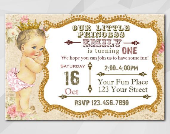Vintage Baby 1st Birthday invitation | Personalized Digital Card