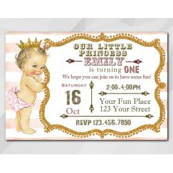 Vintage Baby 1st Birthday invitation