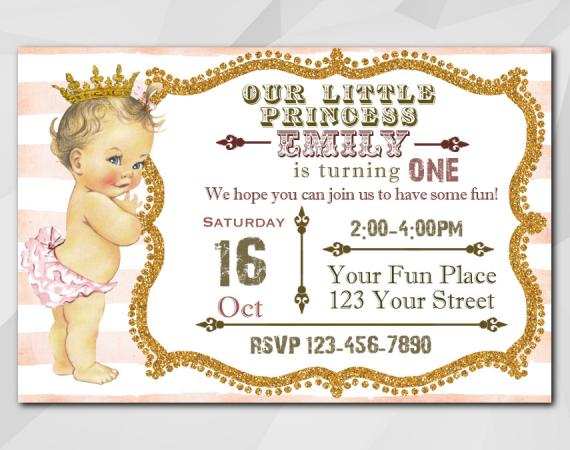 Vintage Baby 1st Birthday invitation | Personalized Digital Card