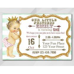 Vintage Baby 1st Birthday invitation