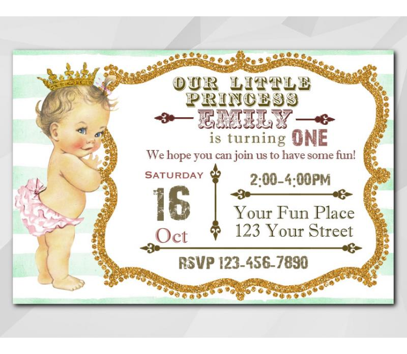 Printable Vintage Baby 1st Birthday Invitation, Little Princess ...