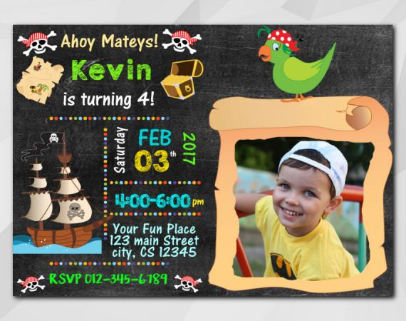 Pirate Invitation with Photo | Personalized Digital Card