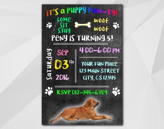 Dog Invitation   Personalized Digital Card
