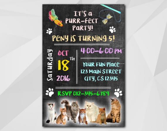 Kitten Invitation   Personalized Digital Card