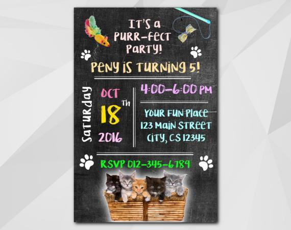 Kitten Invitation | Personalized Digital Card