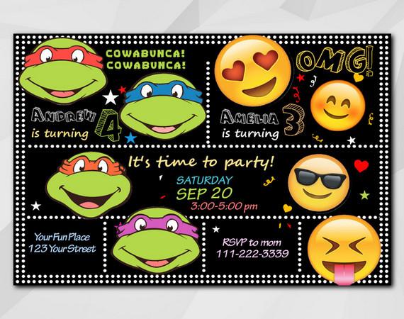 Twin TMNT and Emoji invitation | Personalized Digital Card