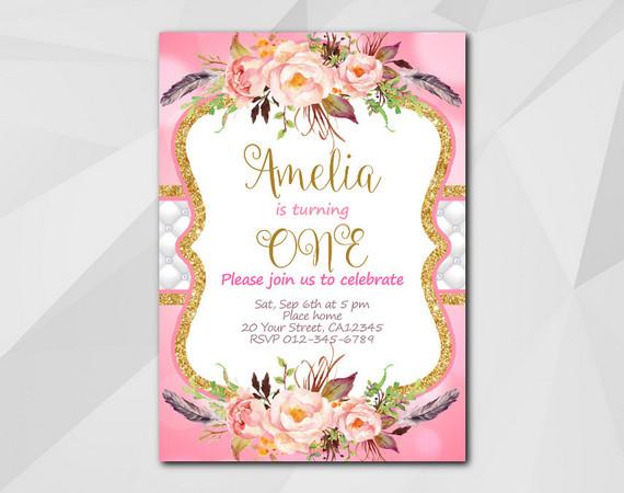 Watercolor Invitation   Personalized Digital Card