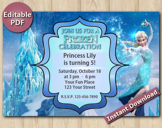 "Frozen Editable Invitation 4x6"" | Instant Download"