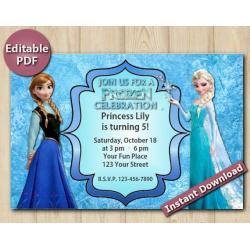 Frozen Editable Invitation 4x6""