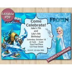 Twin Skylanders and Frozen Editable Invitation 4x6 | Snapshot
