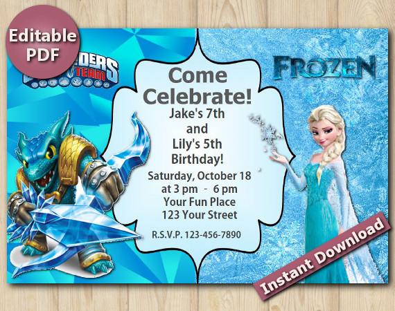 Twin Skylanders and Frozen Editable Invitation 4x6 | Snapshot | Instant Download