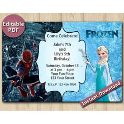Twin Spiderman and Frozen Editable Invitation  4x6