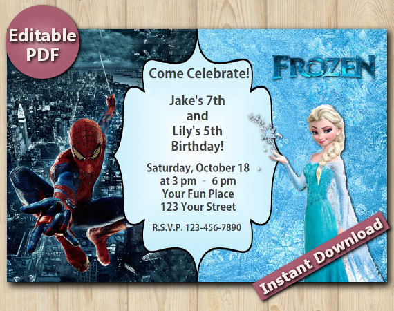 Twin Spiderman and Frozen Editable Invitation  4x6 | Instant Download
