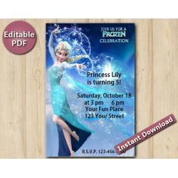 """Frozen Editable Invitation 4x6"""""""