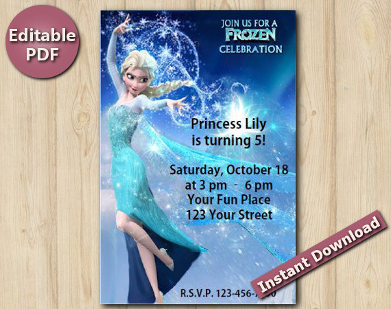 Frozen Editable Invitation 4x6"