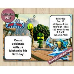 Skylanders Editable Invitation 4x6 | Snapshot