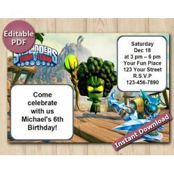 Skylanders Editable Invitation 4x6 | Snapshot