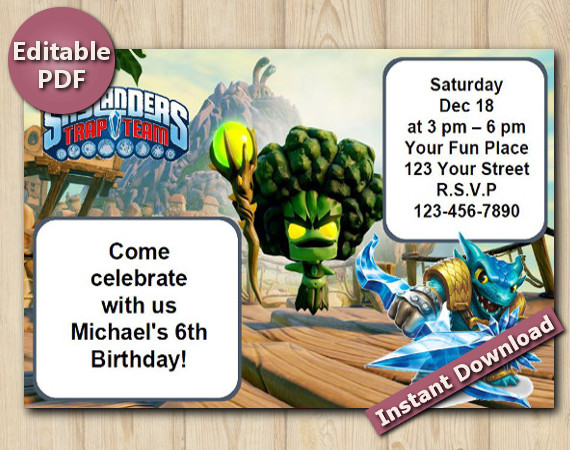 Skylanders Editable Invitation 4x6 | Snapshot | Instant Download