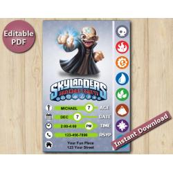 Skylanders Editable Invitation With Back 4x6 | Kaos
