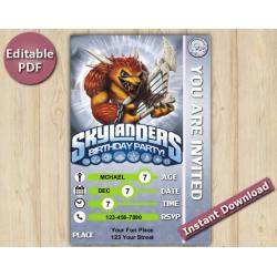 Skylanders Editable Invitation With Back 4x6 | Wolfgang