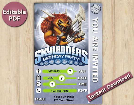 Skylanders Editable Invitation With Back 4x6 | Wolfgang | Instant Download
