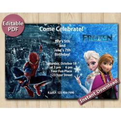 Twin Spiderman and Frozen Editable Invitation 4x6
