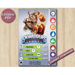 Skylanders Editable Invitation With Back 5x7 | Wallop