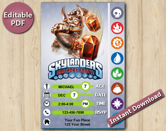 Skylanders Editable Invitation 5x7 | Wallop | Instant Download