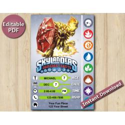Skylanders Editable Invitation With Back 5x7 | Wildfire
