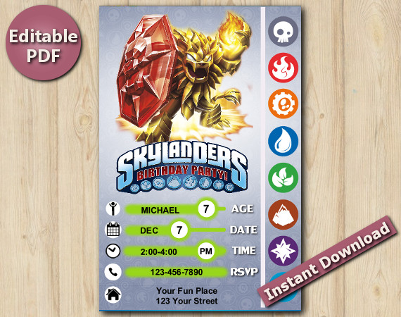 Skylanders Editable Invitation 5x7 | Wildfire | Instant Download