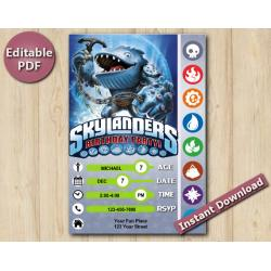Skylanders Editable Invitation With Back 5x7 | Thumpback