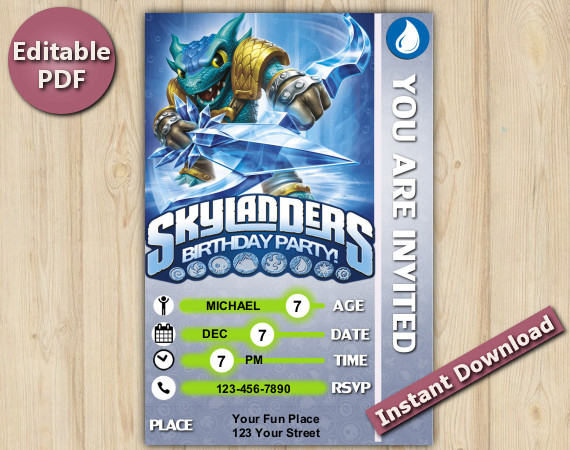 Skylanders Editable Invitation With Back 4x6 | Snapshot | Instant Download