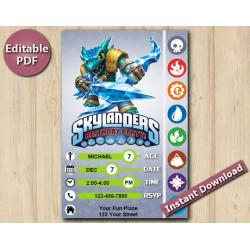 Skylanders Editable Invitation With Back 5x7 | Snapshot