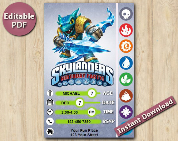 Skylanders Editable Invitation With Back 4x6 | Snapshot | Instant Download