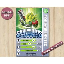 Skylanders Editable Invitation With Back 4x6 | FoodFight