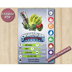 Skylanders Editable Invitation With Back 5x7 | FoodFight